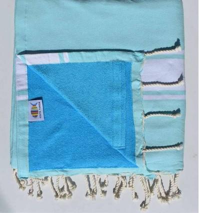 toalla de playa duplicado esponja azul agudo marino y celestial