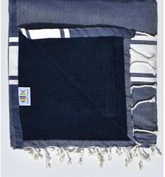 toalla de playa,duplicado esponja azul jeans y azul noche