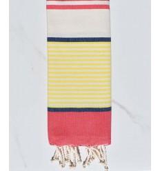 Toalla de playa plana infantil azul oscuro, amarillo, rojo, blanco roto