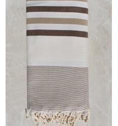 Colcha blanco crudo, marrón y beige