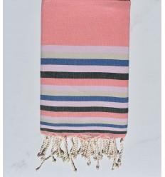 Toalla de playa plato rosa incarnadine,rosa claro ,beige, azul y verde