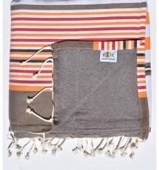 toalla de playa duplicado esponja taupe,roja, corindon beige naranja, negro
