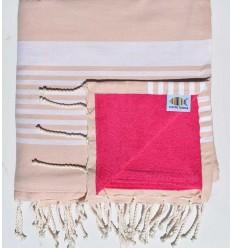 Toalla de playa doble esponja beige rosado y fushia