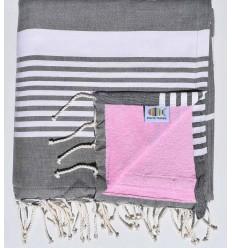 Toalla de playa doble esponja arthur gris oscuro y rosa