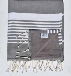 toalla de playa duplicado esponja gris oscuro y taupe