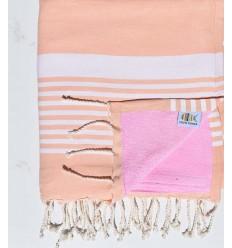Toalla de playa doble esponja arthur melocotón y rosa