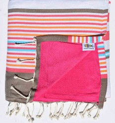 toalla de playa duplicado esponja fucsia rosa, corindon beige gris, naranja, azul