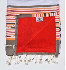 toalla de playa duplicado esponja 5c roja, corindon beige naranja, negro