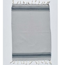 Mini toalla de playa azul gris con rayas
