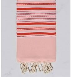 Toalla de playa arabesco bebe rosa con rayas rojas