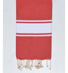 toalla de playa rojo coral tejido plato