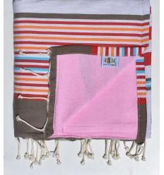 toalla de playa duplicado esponja rosa, roja, corindon beige gris, naranja, azul