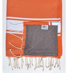 toalla de playa duplicado esponja naranja y marrón
