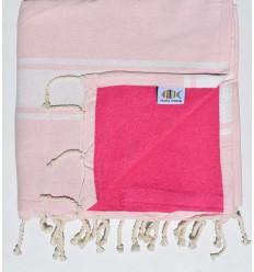 toalla de playa duplicado esponja rosa claro y rosa fucsia