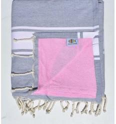 toalla de playa duplicado esponja gris claro y rosa
