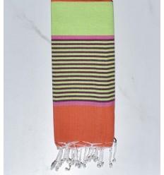 toalla de playa para niños verde claro, rosa, magenta oscuro y naranja coral