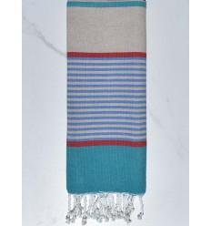 toalla de playa para niños greige, azul, rojo y azul