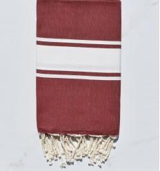 Fouta rojo burdeos tejido liso